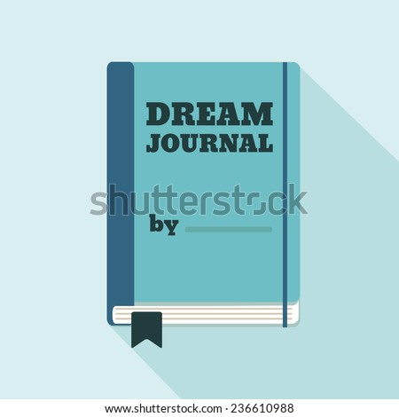Flat Style Icon with Long Shadow. A dream journal. Concept for psychology, lifestyle education, training courses, self-development and how-to articles - stock vector