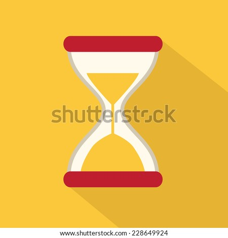 Flat Style Icon with Long Shadow. Sand Glass - stock vector