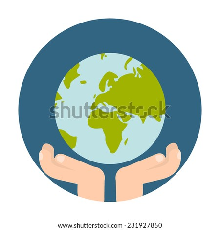 Flat Style Icon with Long Shadow. The Globe in hands. Concept for education, training courses, self-development and how-to articles