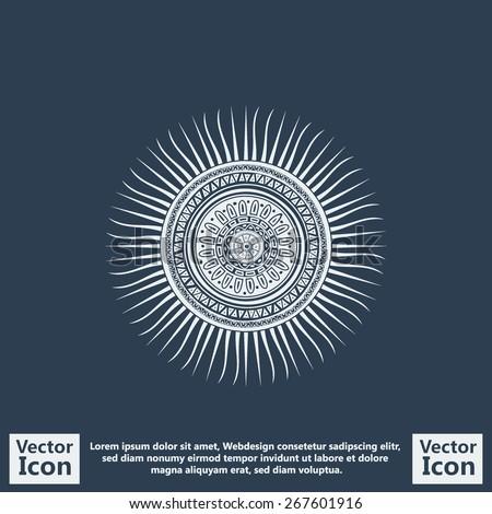 Flat Style Icon Mayan Sun Symbol Stock Vector 267601916 Shutterstock