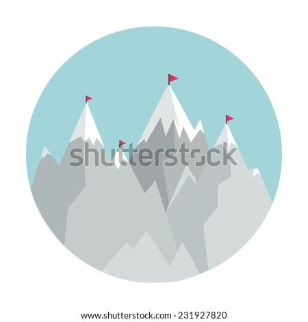 Flat Style Icon with Mountains. Concept for education, training courses, travel, self-development and how-to articles - stock vector