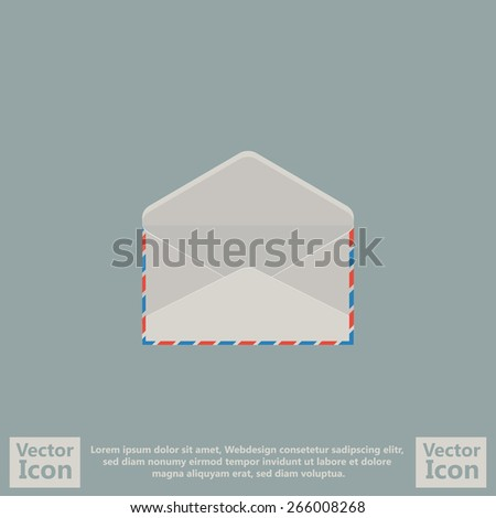 Flat style icon with open envelope symbol  - stock vector