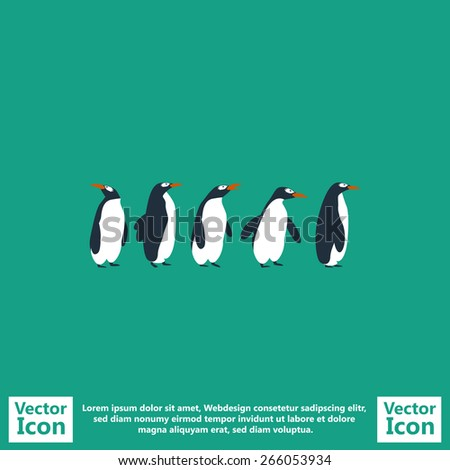 Flat style icon with penguins colony symbol  - stock vector