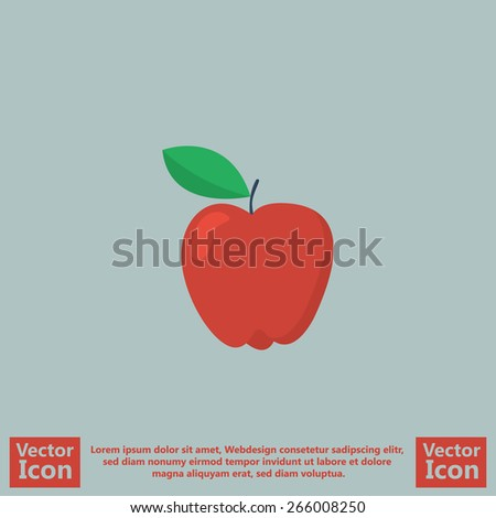 Flat style icon with red apple symbol - stock vector