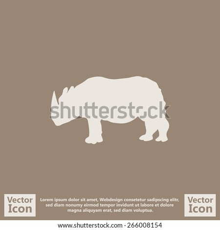Flat style icon with rhino symbol - stock vector