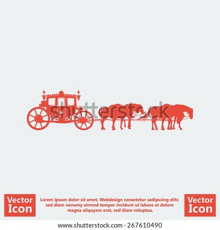 Flat style icon with royal carriage and horses symbol - stock vector