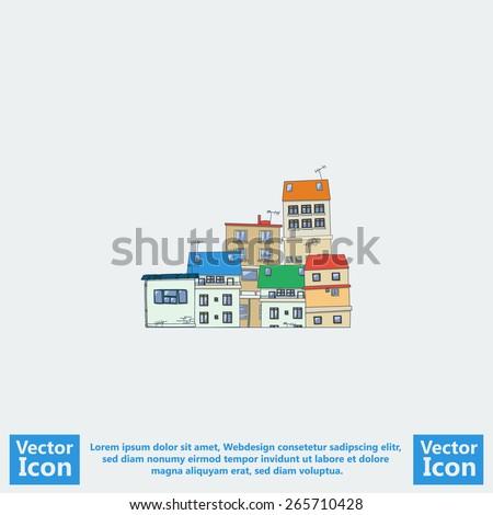 Flat style icon with slum city symbol - stock vector