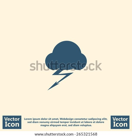 Flat style icon with thunderstorm symbol