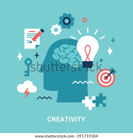 Flat style illustration for creative process. - stock vector
