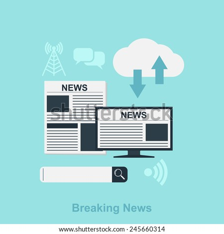 flat style illustration for news concept with icons, newspaper, computer, search bar, cloud - stock vector