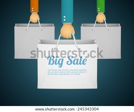 flat style illustration with hand holding paper bag eps10 - stock vector