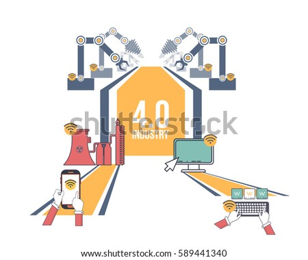 Flat Style Industry 4.0 Concept Business Control Presentation Design. Internet of Things, Cloud Computing, Network, Future, Automation Detailed Illustration. Web Infographics Elements