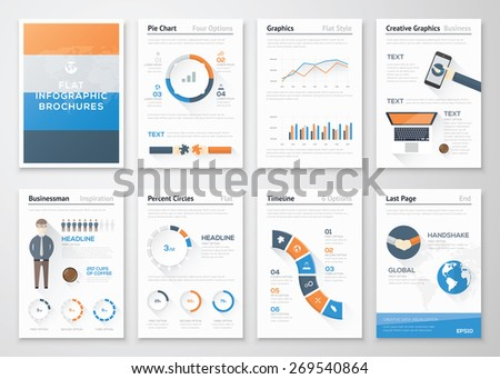 Flat style infographic vector elements in business brochures. Big set of modern infographic vector elements for web, print, magazine, flyer, brochure, media, marketing and advertising concepts. - stock vector