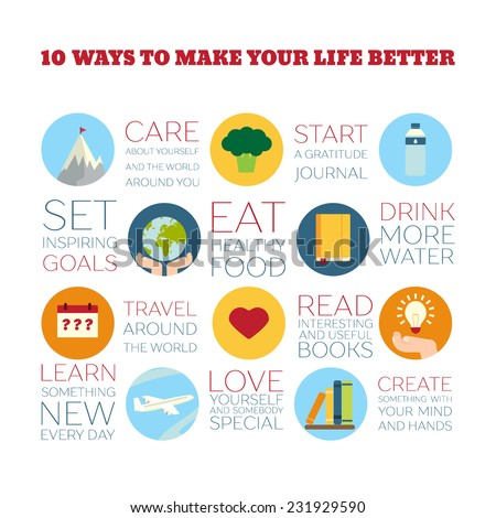 Flat Style Infographics. 10 ways to make your life better. Concept for education, training courses, self-development and how-to articles - stock vector