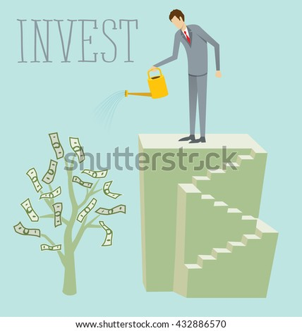 Flat style invest concept web infographics vector illustration. Businessman watering plant with dollar leaves - stock vector