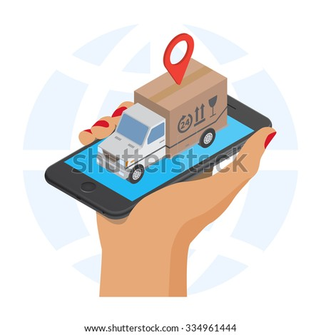 Flat style isometric illustration delivery service concept. Abstract truck with box container and map label icon on the smartphone. Isolated on  white background - stock vector