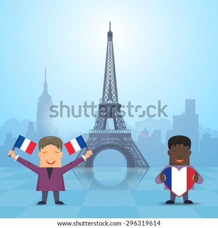 Flat Style Kids Illustration, Bastille Day Concept Background - stock vector