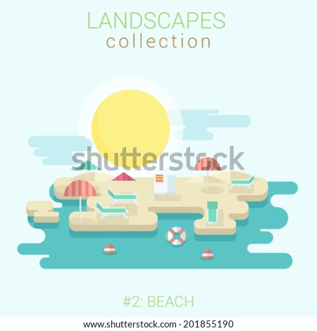 Flat style land scenic sunny summer abstract beach umbrella lounge sunbathing vector template. Landscapes vector illustration collection.