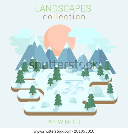 Flat style land scenic winter forest ice frozen lake pond in forest vector template. Landscapes vector illustration collection. - stock vector