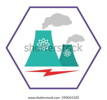 Flat Style logo of a Atomic Energy Reactor with Lightning Bolt. Editable Clip Art. - stock vector