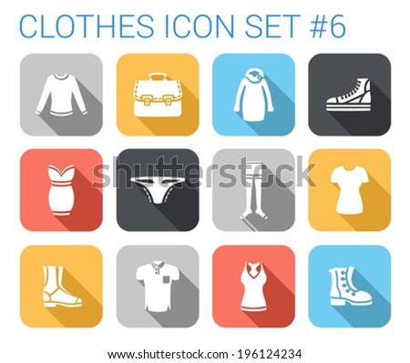 Flat style long shadow clothes silhouette vector icon set. Sweater, blouse, dress, gumshoes, panties, stockings, t-shirt, boots, top, singlet.  Clothing collection. - stock vector