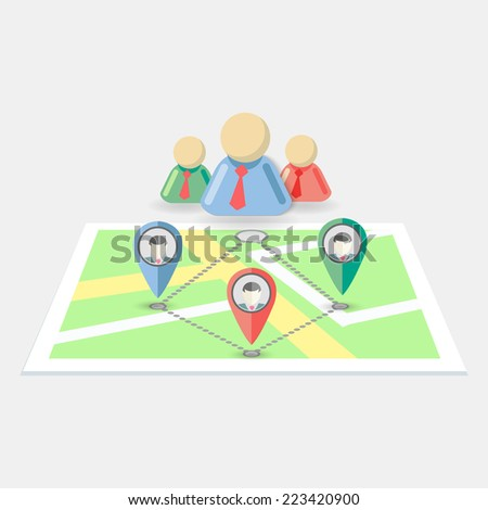 Flat style map with different human markers, vector eps10 illustration. - stock vector