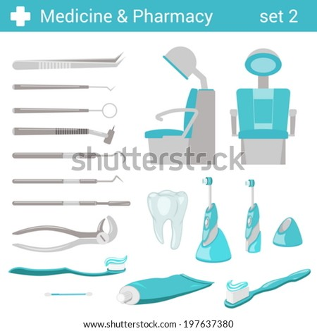 Flat style medical dental hospital equipment icon set. Dentist seat, toothbrush, toothpaste, tooth, mirror, forceps. Medicine pharmacy collection. - stock vector
