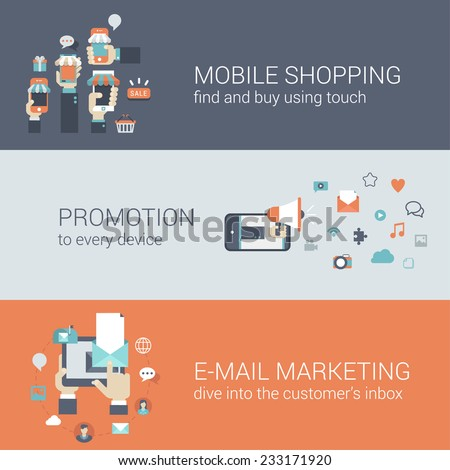 Flat style mobile e-commerce promotion infographic concept. Smart phone online internet store sale shopping tablet promotion email marketing web site icon banners templates set. Template for parallax. - stock vector