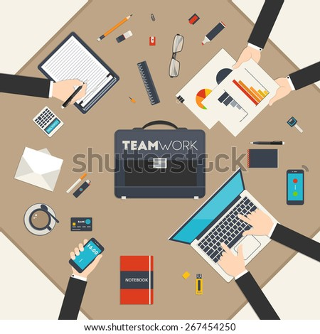 Flat style modern design concept of teamwork. Icon set of business work flow items and elements, office things and other objects and equipment for your design - stock vector