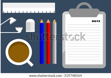 Flat Style Modern Design of Office Workplace. Vector Illustration. Top View of a Table with Note Paper, Pencils, Eraser, Ruler , Ear phones and Coffee Cup. Working or studying concept - stock vector