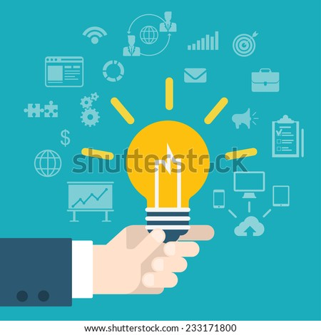 Flat style modern idea innovation light bulb infographic concept. Conceptual web illustration of businessman hand holding lamp. Business strategy planning objects icon set collage. - stock vector