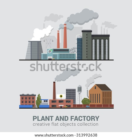 Flat style modern multi color set of stylish pollutive heavy industry plant factory manufacture buildings production business process. Eco unfriendly hostile atmosphere pollution chimney smoke concept - stock vector