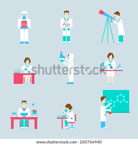 Flat style modern people icons science lab scientific web infographic template vector icon set. Laboratory men women icons. Research process acid chemistry physics astronomy medical formula concept. - stock vector
