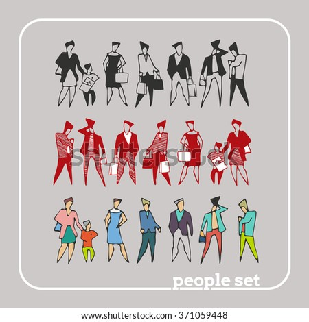 Flat style modern people in casual clothes icons situations web template infographic vector icon set. Men women lifestyle icons. Black white, businessman, hipster. Stick figure. Silhouettes of People - stock vector