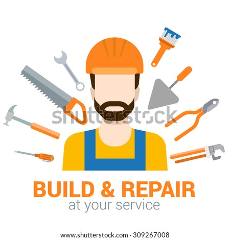 Flat style modern professional build repair construction job related icon man workplace objects. Company logo identity template mockup. Male figure in helmet with tools. People at work collection. - stock vector