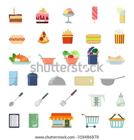 Flat style modern shopping meal food cooking web app concept icon set. Cake tart ice cream lemonade pizza salad soup fridge mixer menu pop corn cutting board colander paddle. Website icons collection. - stock vector