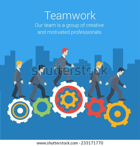 Flat style modern teamwork, workforce, staff infographic template concept. Conceptual web illustration of business people cog wheels city skyscrapers background. Leadership, human resource management. - stock vector