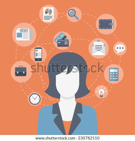 Flat style modern web businesswoman infographic icon collage. Vector illustration of business woman in suit with activity lifestyle, work duties, responsibility icons. Finance, time management concept - stock vector