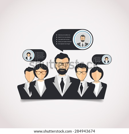 Flat style modern web info graphic corporate human relations (HR), teamwork