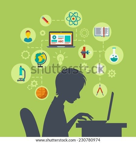 Flat style modern web infographic e-learning, online education, knowledge power, perspective, future growing concept vector illustration. Young school boy silhouette over table with laptop excited. - stock vector