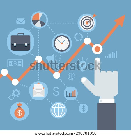 Flat style modern web infographics data analysis, statistics presentation, annual report, finance growth, income rising concept. Hand points graphic representation indicators icons. - stock vector