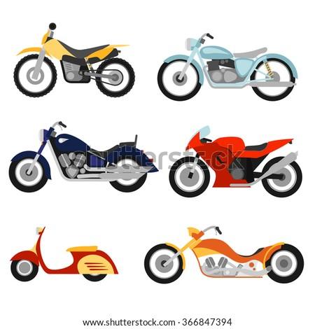 Flat style motorcycles set - stock vector