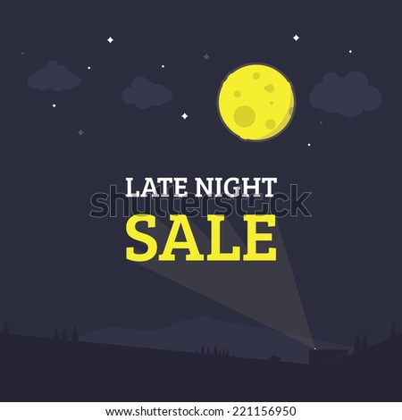 Flat style night sale illustration poster. Shopping. - stock vector