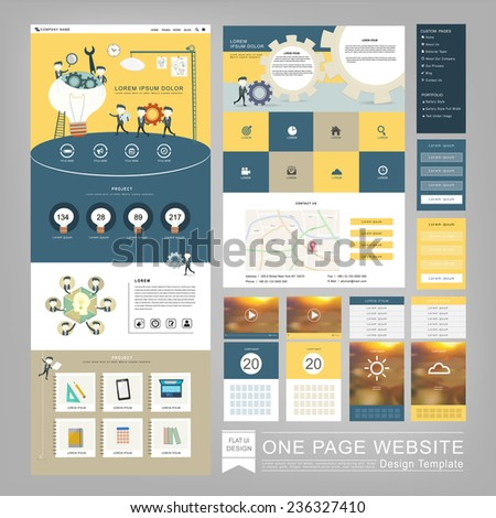 flat style one page website template design with teamwork concept - stock vector