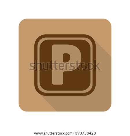 Flat style Parking web app icon on light brown background