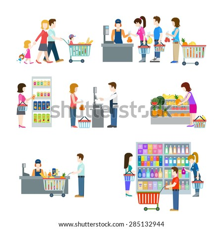 Flat style people in shopping mall supermarket grocery shop figure icons. Web template vector icon set. Lifestyle situations icons. Family holiday weekend with cart cash desk fruit vegetable weighting - stock vector