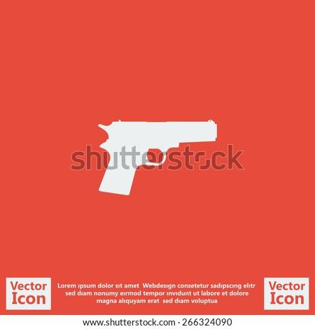 Flat style pistol icon - stock vector