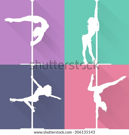 Flat style pole dance and pole fitness icons