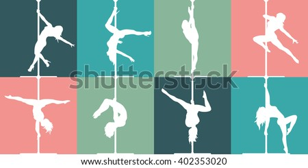 Flat style pole dance and pole fitness icons. Vector silhouettes of female pole dancers. - stock vector