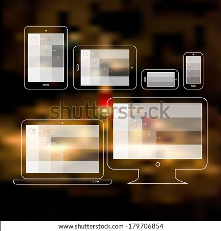 Flat style responsive webdesign technology on defocused blurred background, EPS 10 - stock vector